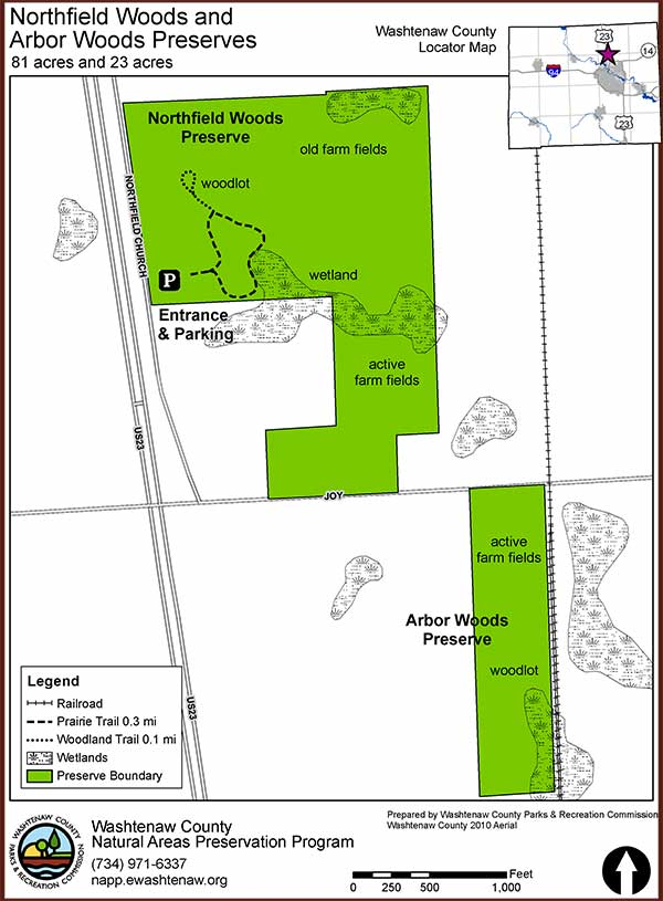 Northfield Arbor Woods Preserves Trail Map 2018 02 600w815h